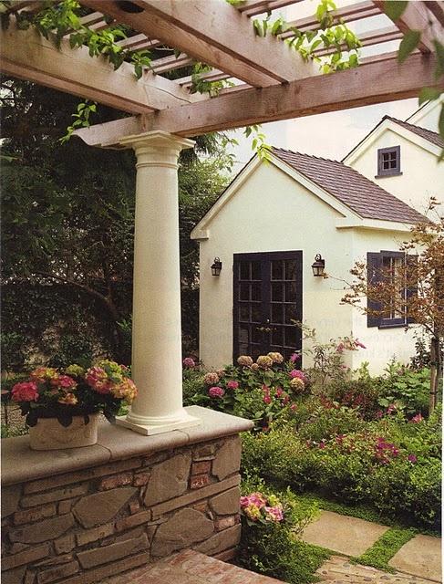 pergola, column, stone wall, french doors