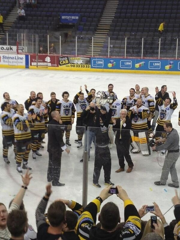 Celebrations in Belfast with the new Elite League Champions 2012 - 2013 The Nottingham Panthers