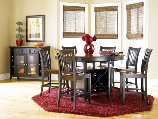Dark Black Wood High Top Dining Room Table With Cherry Wine Storage