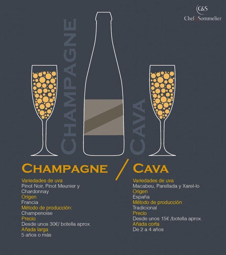 Diferencias entre el #cava y el #champagne en una #infografía