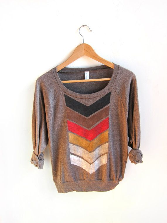 Geo Arrows HAND STENCILED Slouchy Eco Heather Deep Scoop Neck Lightweight Sweatshirt in Fire and Brown - S M L. $46.00, via Etsy.