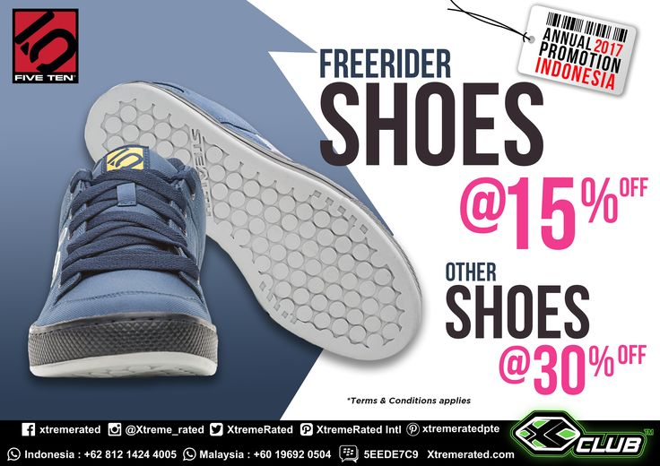 2017 Annual Promotion Indonesia Get 15% discount for Five Ten Freerider Shoes and 30% discount for other Five Ten shoes Available in all XCLUB leading stores  #xtremerated #xclub #fiveten #shoes #Indonesia