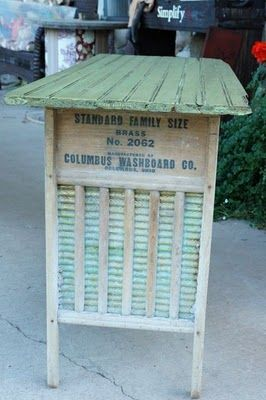 "Washboard Table - This is so cute and if I can find ""old"" washboards I'm going to make one for the patio.  Great for serving table or a potting bench."