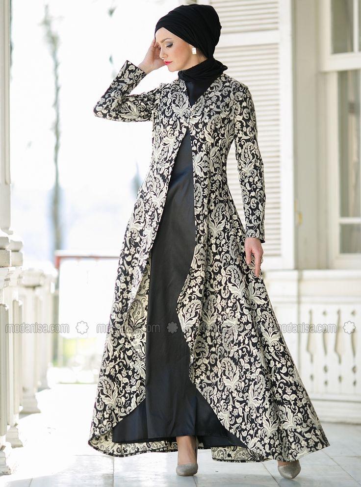 Dersaadet فستان سهرة - مختلط - ياقة الدراجة - أسود