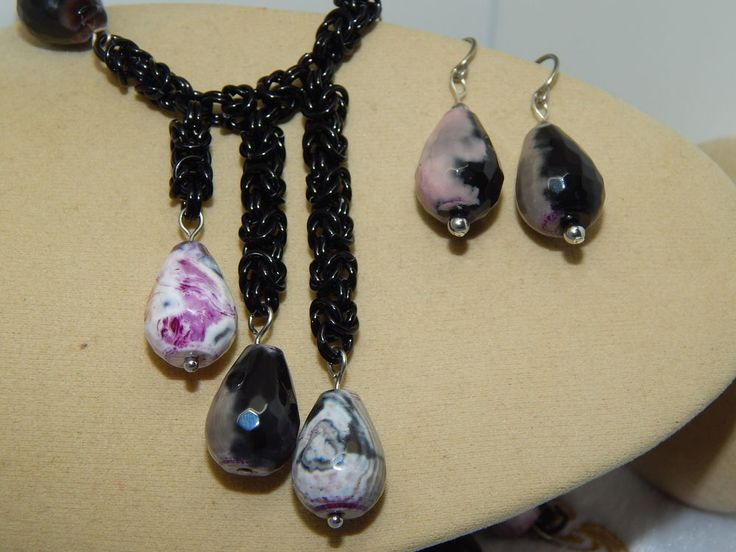 Hand-made Faceted Black & Pink Agate & Anodised Aluminium Chain Maille Set