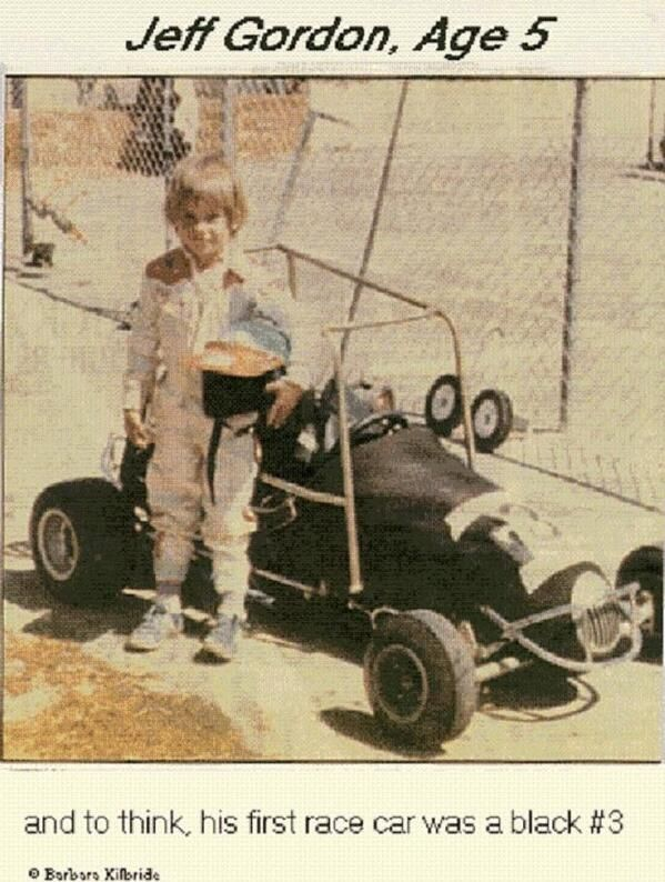 And to think his 1st race car was black #3. Future #NASCAR Hall of Famer, @Jeff Gordon Age 5.