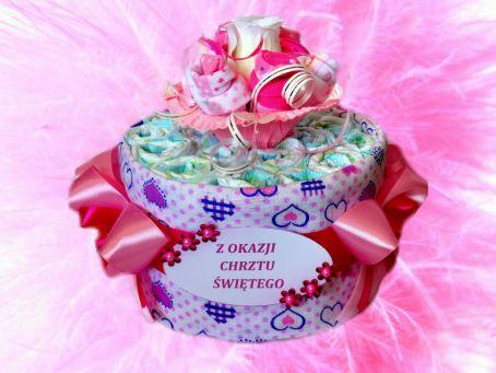 Tort z pieluszek dla dziewczynek - Świat Misia
