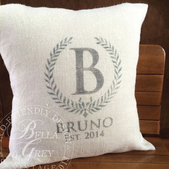 Burlap Monogram Pillow Cover Bridal Shower Gift