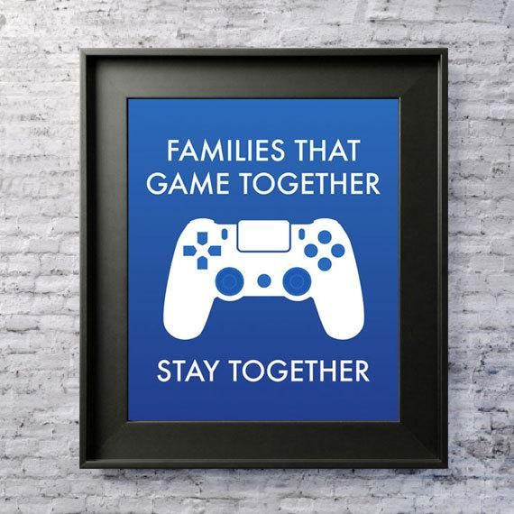 "Digital Download ""Families that game together stay together"" Living Room, Game Room, Man Cave Printa"