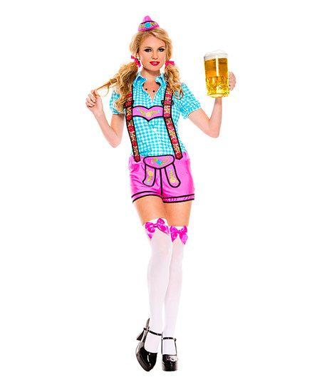 Pink & Blue Floral Lederhosen Costume Set | zulily