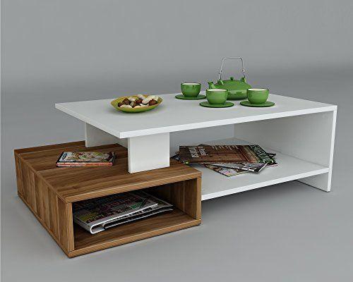 DUX Couchtisch - Weiß / Nussbaum - Moderner Wohnzimmertisch in trendigem Design mit extra Ablagefläche (Weiß / Rot) Holzwerkstoff