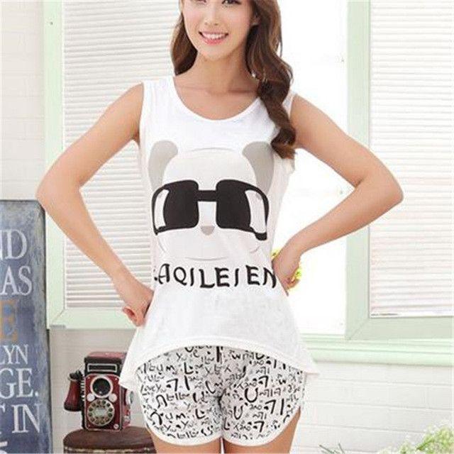 2017 Shirt Summer Women Pyjamas Clothing Brand Famaily Tracksuit Sleeveless Tops Shorts Set Female Sets Night Suit Sleepwear