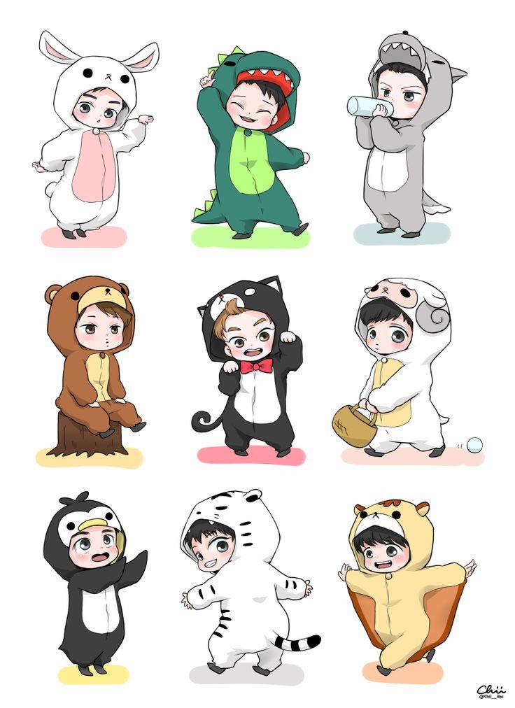 EXO chibi in costumes
