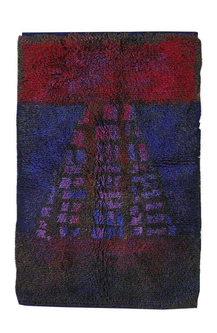 Ritva Puotila, Wool 'Yrttitarha' Rya Rug for Friends of Finnish Handicraft, c1960.