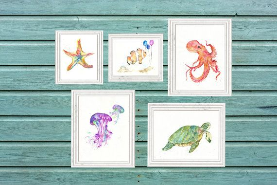 Little Fella' Print & Design makes art to spread the joy of painting to the walls of your home. Give as a gift or decorate your own home with art made with love. A set of 5 original watercolor prints featuring an octopus, starfish, jellyfish, clown fish and turtle. Great for a little kiddos room or anywhere in your house. Print Details: ∗ Choose 3 images in 8x10 and 2 in 5x7 (specify at check out) ∗ All prints are printed on heavyweight acid free matte white paper ∗ Prints are sold unfram...
