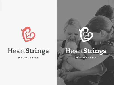 heart strings / mother and baby / red / heart logo / hidden meaning