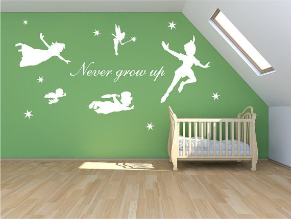 XL Peter pan decal, never grow up walldecal, mural, stickers, wall art, tinkerbell, wendy, stars fantasy fairytale nursery on Etsy, $86.01