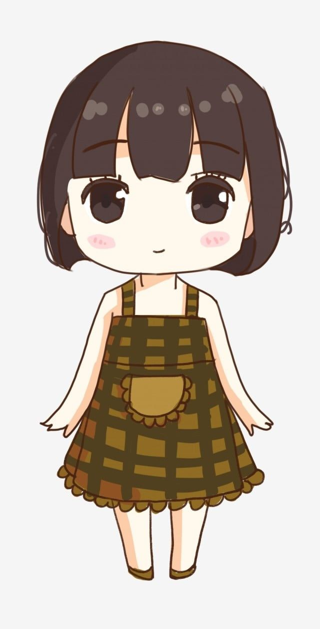 Cute Little Girl Short Hair Girl Ordinary Girl Earthy Plaid Skirt Sprouting Q Version Hand Drawn Character Design Png Transparent Clipart Image And Psd File Girl Short Hair Red Hair