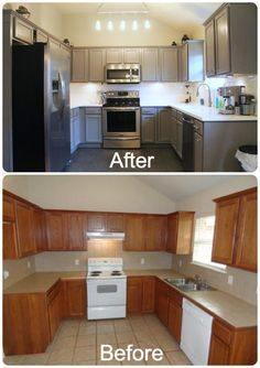 DIY Kitchen Re Do. Rust Oleum Cabinet Resurfacer Painted With Gray Color.