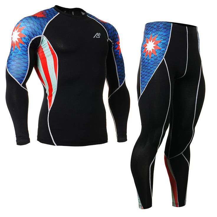 Brand Genuine 4 Way Stretch Men's Sport Suit Compression Tights Running Pants + Long Sleeve Tshirt Captain America C2L_P2L_B37