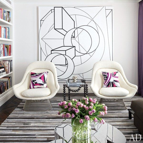 townhouse contemporary furniture. a painting by al held is displayed behind pair of warren platner chairs knoll townhouse contemporary furniture