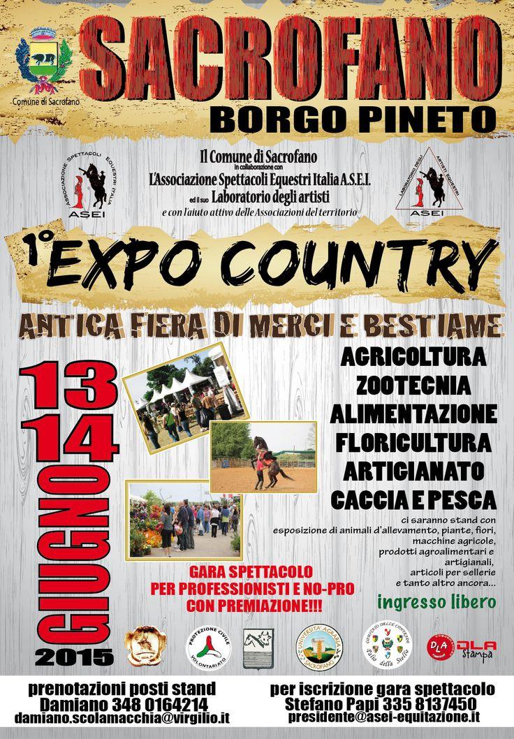 Expo Country Sacrfano 2015 13/14 giugno Fiera sulla campagna, cani, cavalli, animali in genere, caccia, pesca, gastronomia e tanto altro ancora