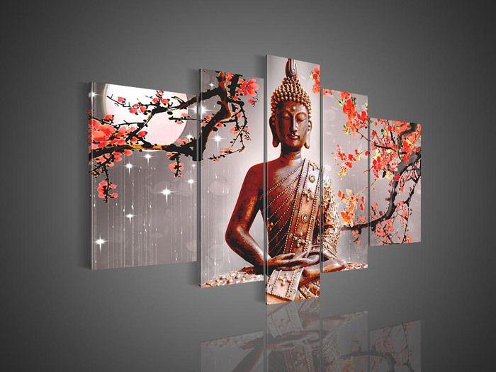 Omlijst! Gratis verzending! 5pcs/set! De hand- geschilderd chinese boeddha muur decor kunst olieverfschilderij van het canvas( klaar om op te hangen)