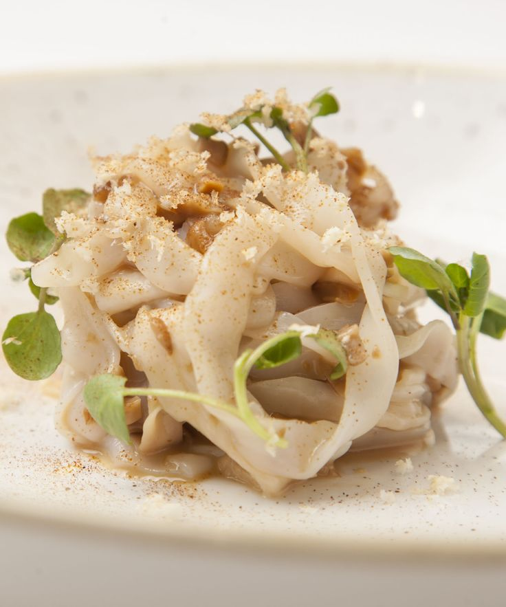 Paul Foster's recipe combines the delicacy and sweetness of squid with the earthy flavours of ceps (also known as porcini mushrooms) and king oyster mushrooms. Cooking the squid sous vide then cutting into tagliatelle strips results in a wonderfully tender finish.