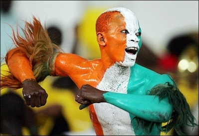 Supporter of the Ivory Coast football team.