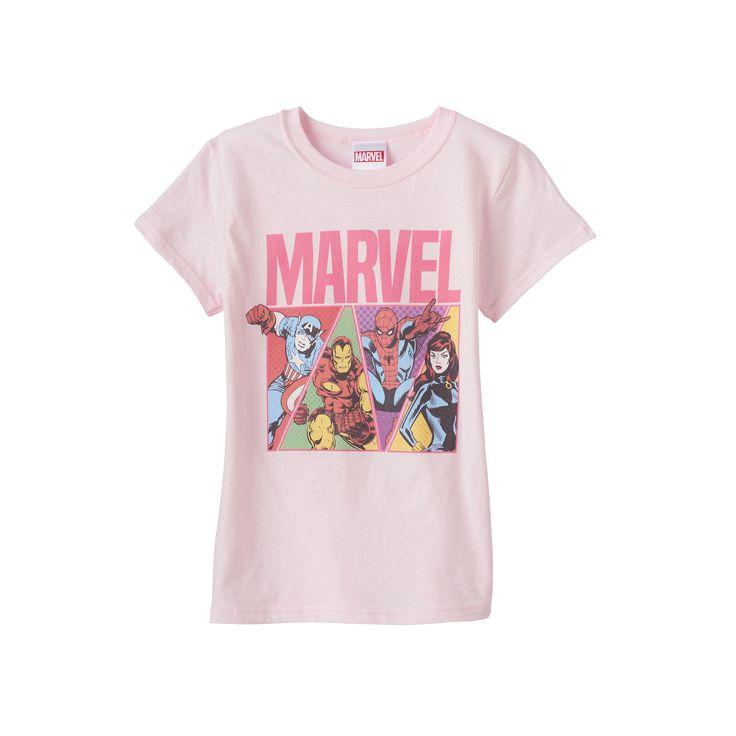 Girls 7-16 Marvel Captain America, Iron Man, Spider-Man & Black Widow Graphic Tee, Girl's, Size: Large, Light Pink