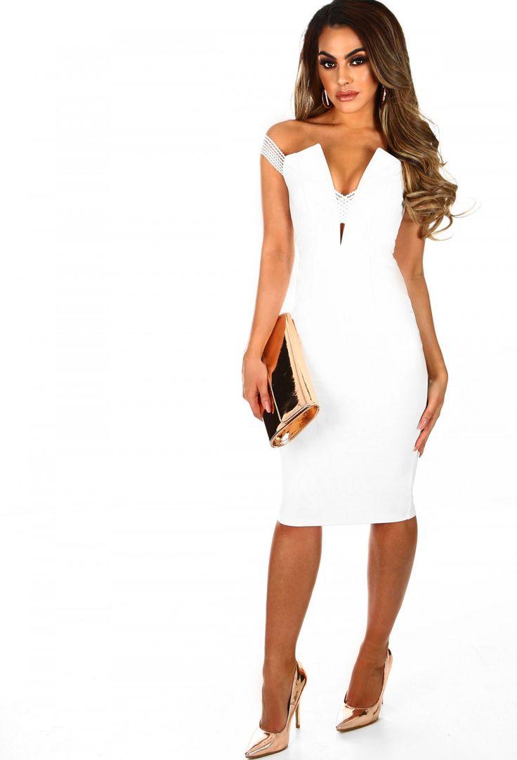 French Riviera White Plunge Bardot Midi Dress | Pink Boutique