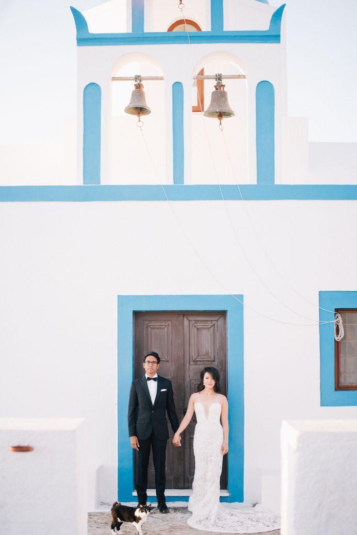 Photography: Ben Yew Photography + Film - benyew.com   Read More on SMP: http://www.stylemepretty.com/2017/03/15/santorini-modern-minimalist-wedding/