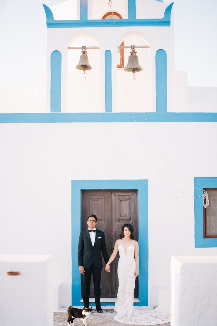 Photography: Ben Yew Photography + Film - benyew.com   Read More on SMP: http://www.stylemepretty.com/2017/03/15/santorini-modern-minimalist-wedding/