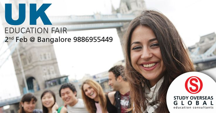 Gear up for the upcoming UK education fair held at Bangalore on 2nd February, 2017. Visit: http://studyoverseasglobal.com/educationfairs/ to know more. #StudyOverseas #EducationFair