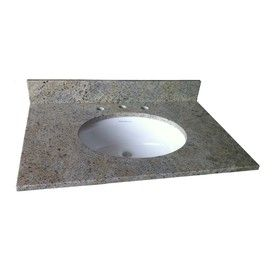 allen   roth�49-in W x 22-in D 240145 Kashmir White Granite Undermount Single Sink Vanity Top Lowes 279.00 guest, kaylynn bath