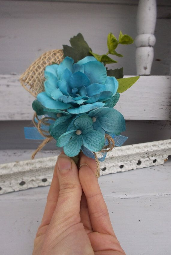 Country Chic Turquoise Wedding Corsage with Burlap Shabby Boho with Burlap on Etsy, $11.50