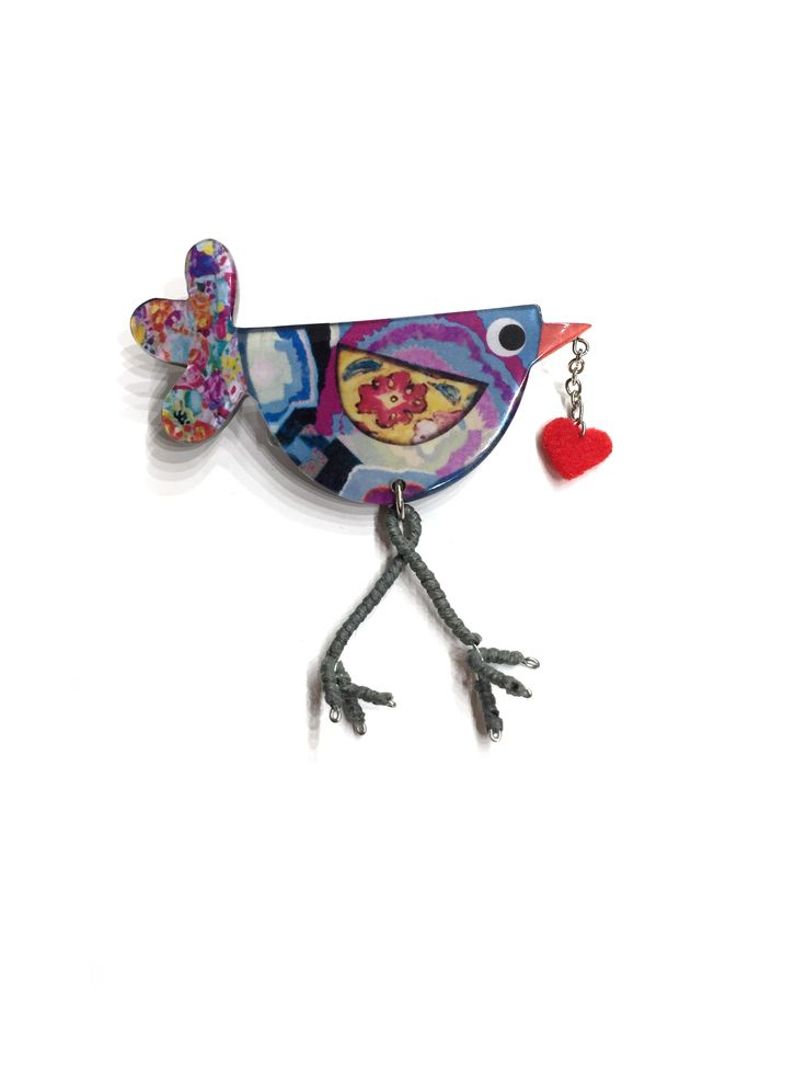 One Button funky songbird resin brooch with dangle heart #blue #multi #springsummer #brooch #accessories #onebutton  Click to see more products from the One Button shop.