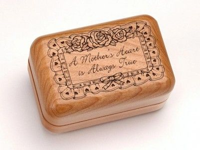 A Mother's Heart is Always True Engraved Hinged Box #woodenbox #mothersday