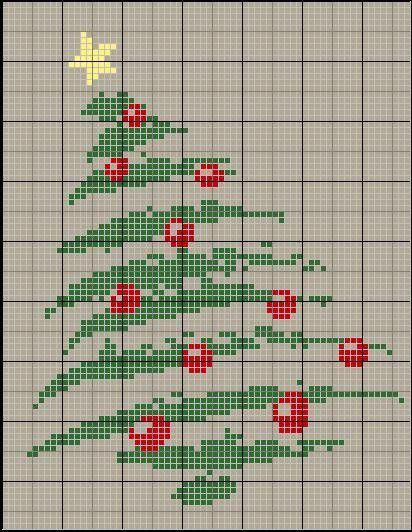 100%_ponto_cruz: Natal - árvore torta