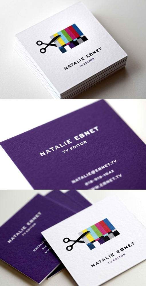 46 best business card inspiration images on pinterest business i thought these business cards for a tv editor were very clever i like the unique shape vs the typical rectangular business card and think the cards reheart Choice Image