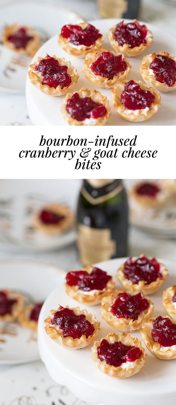 DELISH Party Appetizer, cranberries are infused with bourbon and added on top of goat cheese!