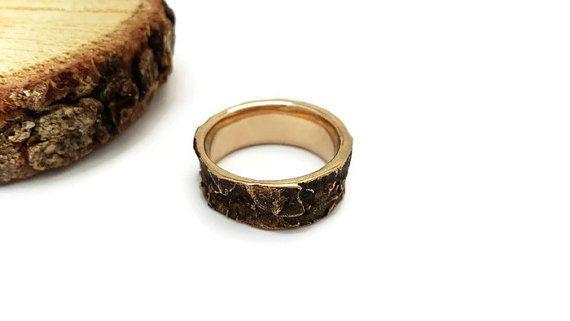 Bark ring Oak Tree Bark Jewelry Bronze ring Woodland by Brelokz
