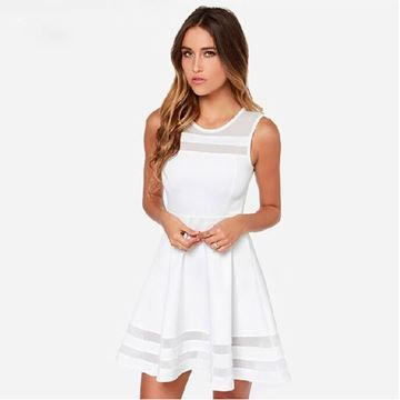Show details for Summer Sleeveless Casual Fit and Flare Sleeveless Mesh Women White Chiffon Dress