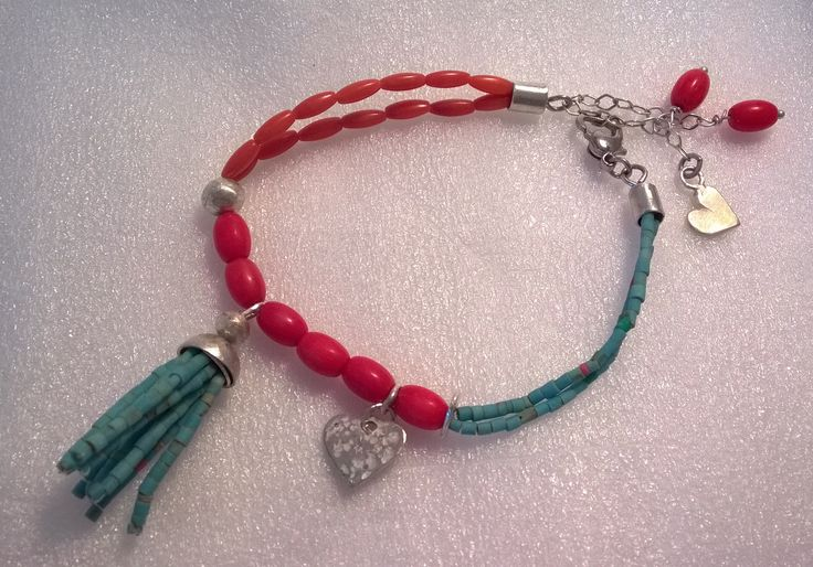 Silver, Afghan beads and corals, bracelet
