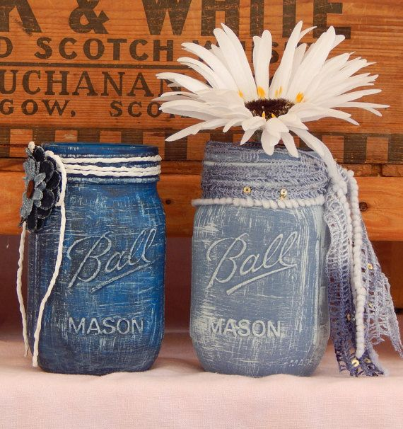 Check out Blue Denim Painted Mason Jar-Wedding Centerpiece- Rustic Decor- Set of Two on 3mimis