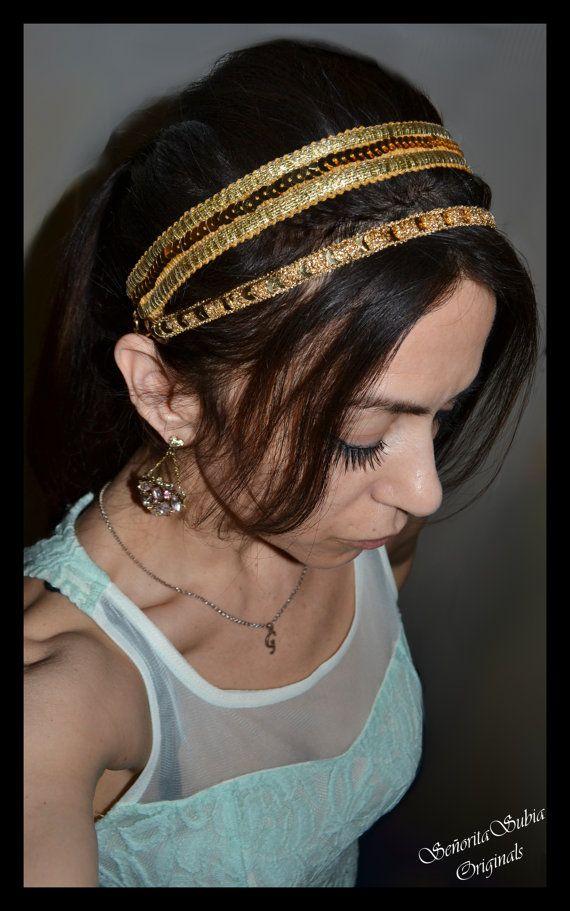 REGAL déesse grecque Sequin or Double bandeau grec romain Couronne égyptienne cheveux soirée décontractée usure Fashion Party Dance Prom femmes