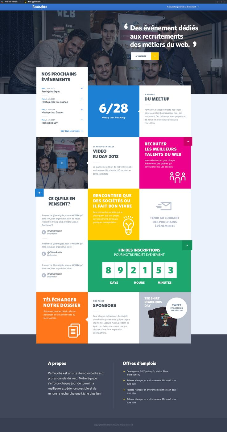 The recipe for this website is= boxes + solid grid + colors. Awesome final result...