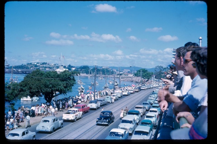 A blast from the past - This is a photo Jane Postel took of Kingsford Smith Drive in 1963, Queen Elizabeth's visit to Brisbane.