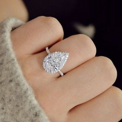 Details about Natural Pear Cut Halo Pave Diamond Engagement Ring – GIA Certified