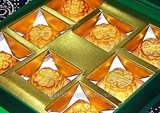 Moon cakes, the special food for the Mid-Autumn Festival.
